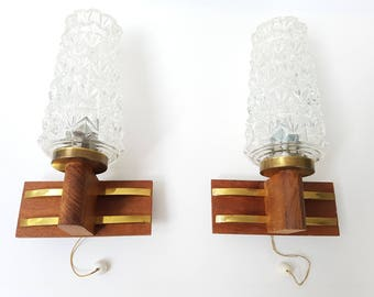 Pair of Scandinavian teak, brass and glass vintage 60s 1960s