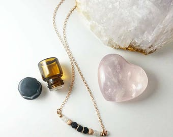 Essential Love Moonstone and Lava Essential Oil Diffuser Necklace