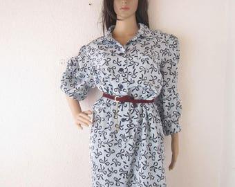 Vintage 80s dress robe dress Fink model M/L