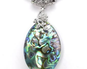 Abalone shell pendant, big oval paua shell pendant with flower branch, natural shell pendant, abalone necklace, abalone jewelry, SH1330-AP