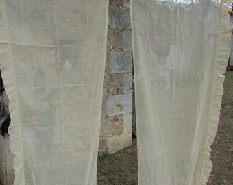 Pretty pair long vintage French frilled cotton voile curtains drapes c1930 8ft