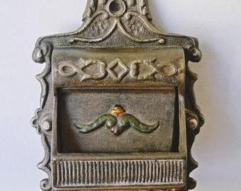 On Sale Vintage Cast Iron Match Safe, Match Holder
