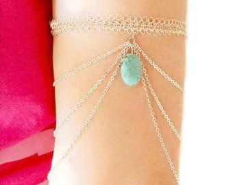 Silver arm cuff with turquoise, armband bracelet, arm chain, armlet, body jewelry, upper arm bracelet, bohemian, wire crochet jewelry