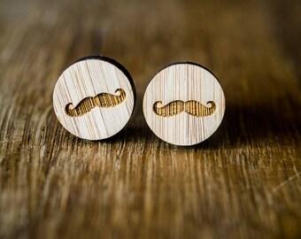 Cufflinks (cufflinks) Wood Mustache