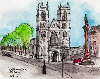 Watercolour Print, Urban Sketching, Giclee Print, Archival Print, Urban Art, London Art, Watercolour and Ink, London, Westminster Abbey