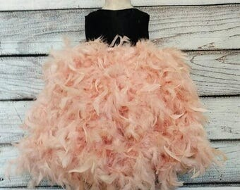 On sale this week only Blush flower girl tutu dress,blush and black flower girl dress,blush junior bridesmaid dress,blush rustic flower girl