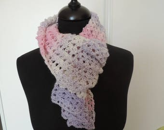 crocheted scarf in soft shades of Pink Purple and ecru