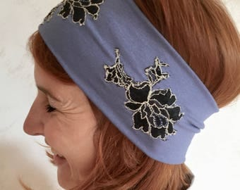 Wide and soft jersey headband with 3 black embroideries, Louise Brooks style