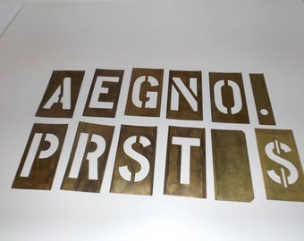 """Large brass stencil letters,4"""" uppper case letters,interlocking,12 pieces,incomplete set,brass stenciling,stencil lettering,sign stencil,"""