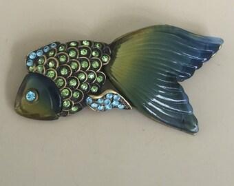 Unique Vintage Koi Fish Brooch In Resin .