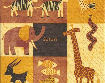 Decoupage Paper Napkins African Cute Safari Animals (1x Napkin) - ideal for Decoupage, Collage, Mixed Media, Crafts