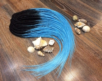 black top with blue ends ombre x10 or FULL SET single or Double Ended Synthetic Dreadlocks Dreads Fall Hair Extensions 20-25 inches