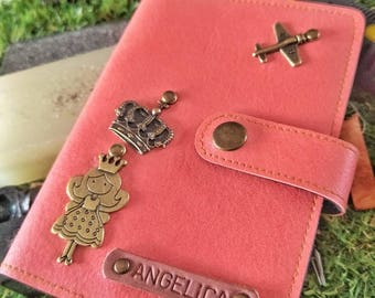 Personalized Clip Button Passport Holder with Name & Charm