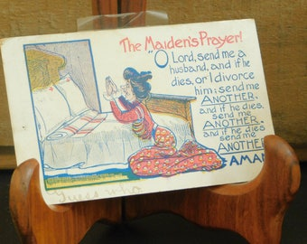 Antique The Maiden's Prayer, Funny Postcard, One Cent Stamp, Woman in Prayer, Novelty Card, 1908, Douglas, Framed Under Glass, Old