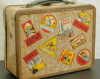 Vintage Brown Ohio Art World Travel Lunch Box, Outdoor Explorer, World Traveler, Old Metal Lunchbox, Gift for Young Explorer, Tote, Display