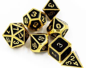 DND Dice set-Dungeons and dragons Dice Set-Metal d&d Dice-Polyhedral Dice Set-rpg dice set-Enamel Gaming Dice-rpg dice-metal dice-set of 7