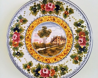 """L'Antica Deruta Wall Plate - Large 14"""" Salad Serving Platter - Italian Majolica - Handmade Hand Painted in Italy"""