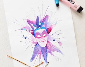 """Originale Malerei von Buttafly ( Vanessa Brünsing ) Mardi Gras Maske - Male - 2016 - 42 x 56 cm - 16,53"""" x 22,05"""" - Kunstwerk"""