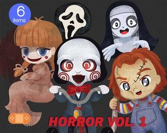Horror Clipart - Halloween Clipart- Horror illustration- Scary Movies Clipart, Cute Horror Clipart, Geek Clipart - Jigsaw, Annabelle, Scream