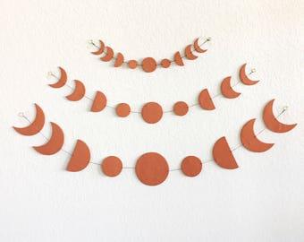 Terra Cotta Moon Phase Wall Hanging, Boho Decor, Handmade Clay Art