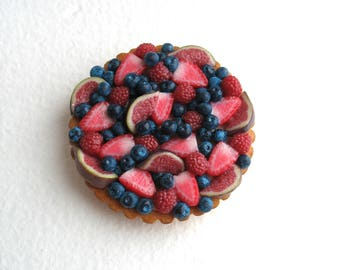Barbie dollhouse miniature food, Miniature Cake, French tart with berries for Barbie doll, doll food 1:6 scale