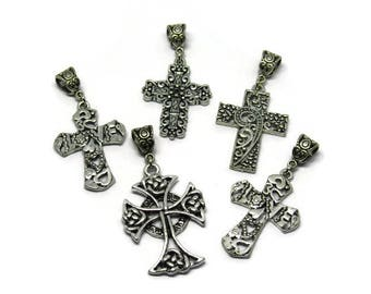 5 great worked silver cross charm / fantasy with bails