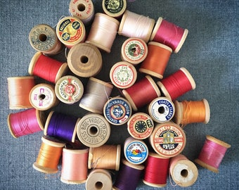 STUDIO SALE 35 vintage wooden spools of thread destash B