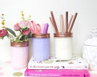 Baby Pink Office Decor, Pencil holder, Blush Pink desk organizer, girl room gift, rose gold dorm decor, lilac mason jars set, back to school