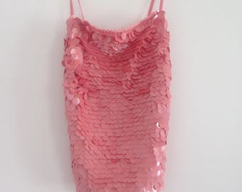 Pink Sequin Beaded Top with tie up open back / y2k cyber / Small-Medium