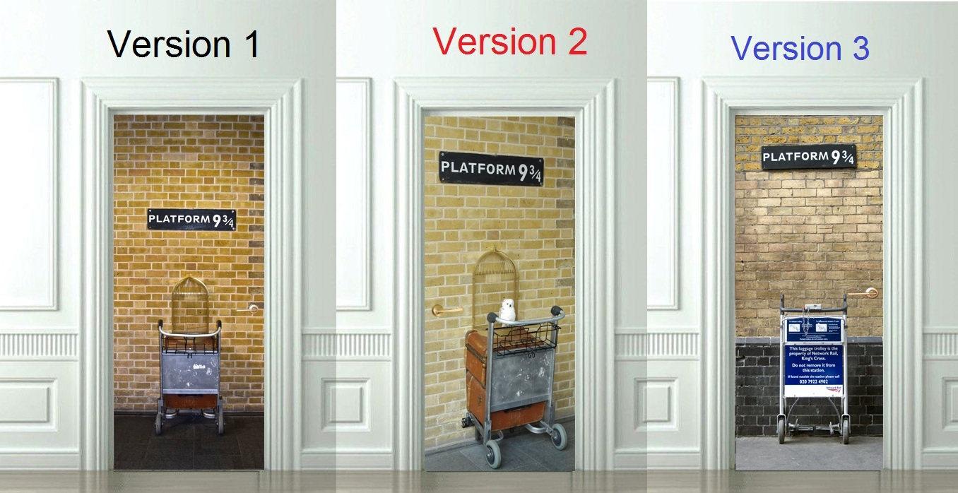 3d door wall sticker platform 9 3 4 harry potter decal - Bande adhesive murale ...
