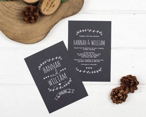 Rustic Chalkboard Wedding Invitation Set Sample