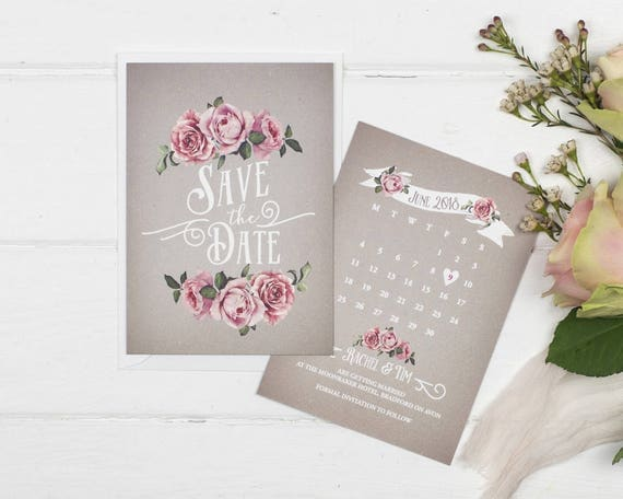 Rustic Save The Date Card - A6 Grey Rustic Rose
