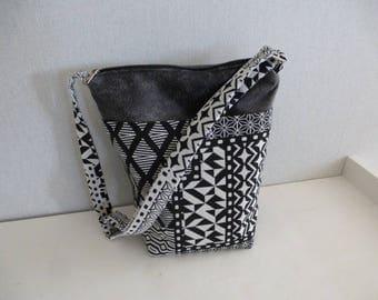 shoulder bag black white and gray