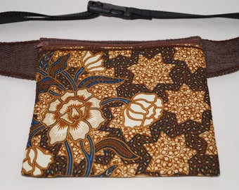 Batik flower bag, hip bag, waist bag, belt bag,fanny pack,travel pouch,festival wallet,hip pouch, waist purse,cell phone hip pouch,boho bag,
