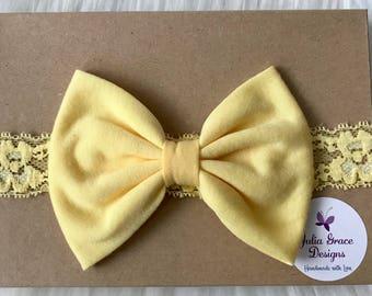 Light Yellow Bow Headband, Big Bow Headband, Baby Headband, Newborn Headband, Bow Headband, Baby Bow Headband, Infant Headband,Girl Headband