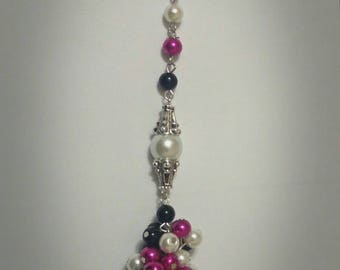Magenta, White, and Black Cluster Keychain/ Zipper Accessory
