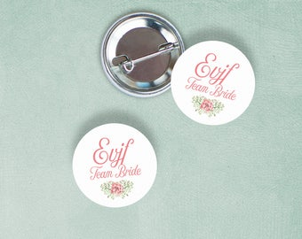 Team Bride floral badges