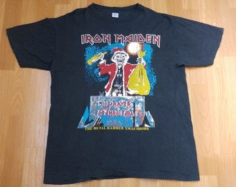 Vintage Iron Maiden T-Shirt No Prayer On The Road For Christmas 1990 Tour, shirt 90s concert tour shirt, 2 sided 80s heavy metal rock size M