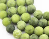 Matte Natural Green Jade Round Loose Beads Size 4/6/8/10/12mm Approxi 15.5'' Long.  R-S-JAD-0483