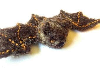 Needlefelted Brown Bat Brooch