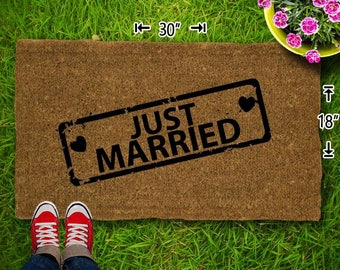 Just Married Coir Doormat - 18x30 - Welcome Mat - House Warming - Mud Room - Gift - Custom