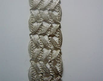 lace embroidered with threads metallic white gold