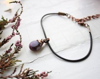 Amethyst bracelet Teardrop amethyst bracelet Genuine amethyst bracelet Copper bracelet stone Bracelet of stones Electroformed bracelet