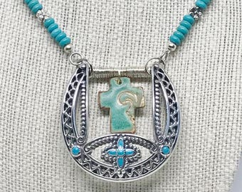 Vintage Belt Buckle Necklace, Turquoise Necklace