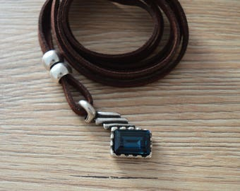 Brown Leather Wrap Necklace with Blue Swarovski Pendant, Leather Swarovski Wrap Choker Necklace, Bohemian Leather Suede Swarovski Jewelry