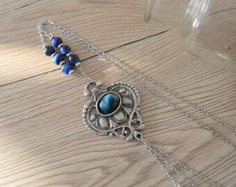 Silver Blue Tiger Eye gemstone HEART pendant necklace, Summer Ibiza Blue Gemstone Necklace, Cabochon Necklace, Boho Gypsy Hippie Jewelry
