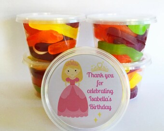 5 Princess Party Favours   Personalised Tubs   Great for birthday parties as thank you gifts   Alternative to lolly bags