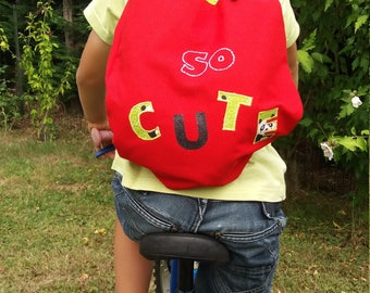 Red and green backpack boy or girl personalized panda theme
