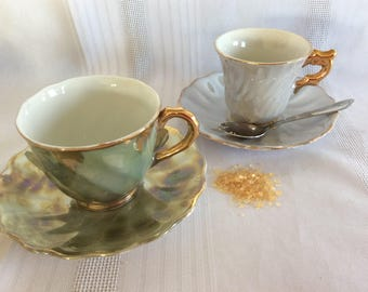 Vintage 2 small luster porcelain demi cups and saucers hand painted toy size