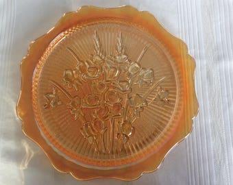 Carnival glass cake plate or platter Marigold Iris or Herringbone pattern by Jeannette glass